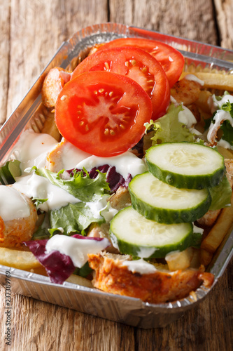 Kapsalon from the Netherlands: french fries topped with shawarma meat, then Gouda cheese and fresh vegetables closeup. vertical