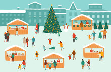 Vector Illustration Of A Christmas Market Or Holiday Outdoor Fair On Town Square
