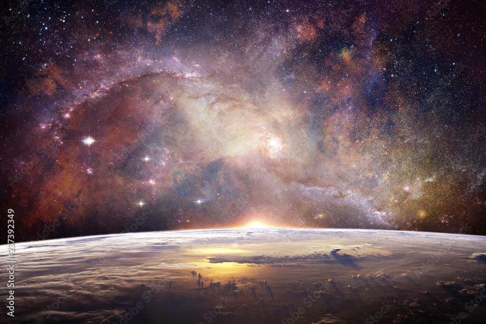 Fototapeta Multicolored Smooth Nebula Galaxy Artwork On Earth Horizon Background