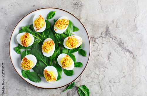 Fototapeta Deviled Eggs with Paprika as an Appetizer obraz
