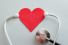 Heart And Stethoscope , Heart Health Care Concept Background