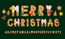 Ginger Cookies Alphabet, Merry Christmas And Happy New Year, Vector Illustration