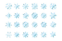 Set Of Vector Snowflakes Blue Flake Of Snow Gradient