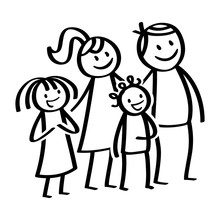 Happy Family, Stick Figures, Smiling Parents With Happy Children, Daughter And Son, Standing And Waiting Isolated On White Background