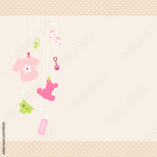 Staande foto Hoogte schaal Card Baby Symbols Shirt Girl Dots Border