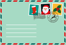 Dear Santa, Envelope With Stamp. Letter Of Desires.