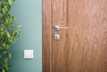 Close - Up Elements Of The Interior Of A Beautiful Apartment. Steel Door Handle And Dark Wood