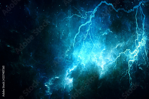 Photo  Abstract Artistic Colorful Lightning Effect In A Galaxy Background