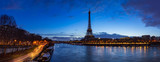 Fototapeta Wieża Eiffla - Eiffel Tower and  Seine River banks in early morning light. Panoramic view in Paris, France