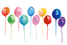 Watercolor Color Balloons Illustration