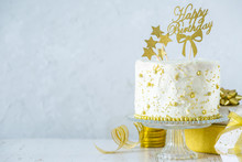 Golden Birthday Concept - Cake, Presents, Decorations