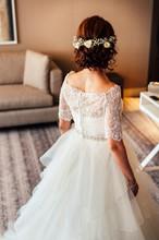 Rear View Of Bride Flowers Headdress