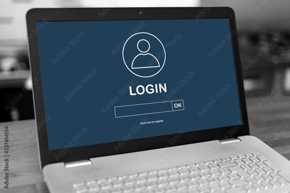 Fototapeta Login concept on a laptop