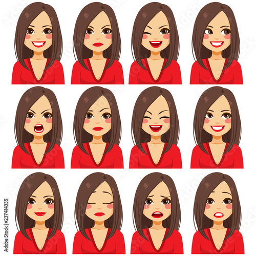 Fényképezés Young beautiful brunette woman with twelve different facial expressions