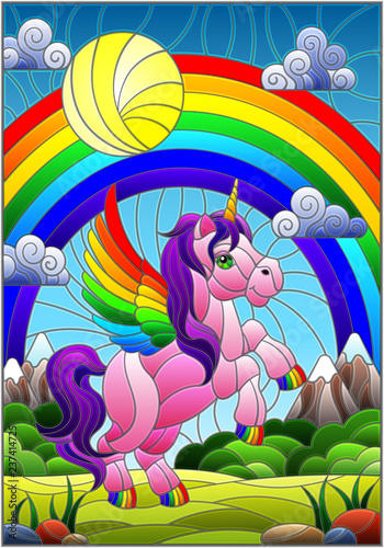 Poster Magic world Illustration in stained glass style with pink cartoon unicorn on rainbow background, greenery and sky