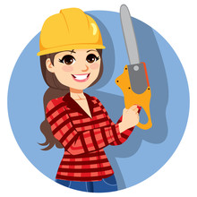 Beautiful Professional Young Brunette Female Lumberjack With Chainsaw
