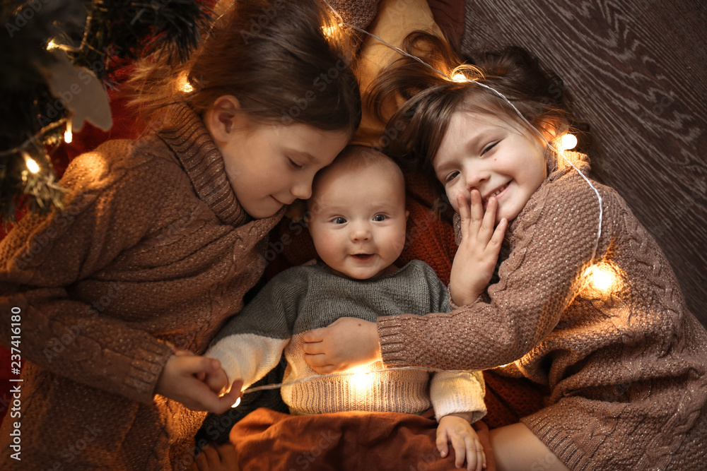 Fototapety, obrazy: funny children sleep together embrace in cozy room