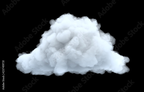 Obraz 3d rendering of a white bulky cumulus cloud on a black background. - fototapety do salonu