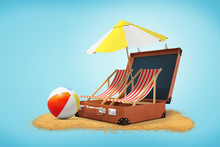 3d Rendering Of Beach Chairs And Umbrella In Open Suitcase With Rainbow Beach Ball And Sand On Blue Background