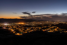 Night Hilltop View Of Simi Valley Near Los Angeles In Ventura County, California.