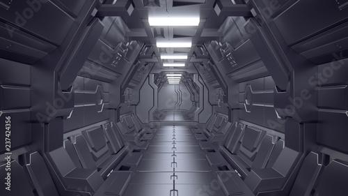 Science fiction wnętrze sceny - ilustracje science-fiction korytarza 3d