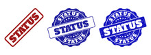 STATUS Grunge Stamp Seals In Red And Blue Colors. Vector STATUS Overlays With Grunge Texture. Graphic Elements Are Rounded Rectangles, Rosettes, Circles And Text Titles.