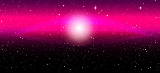 Vector illustration. Galaxy in the form of an eye. Free space. Universe. Pink.