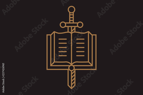 logo the sword and the book vector illustration - Buy this