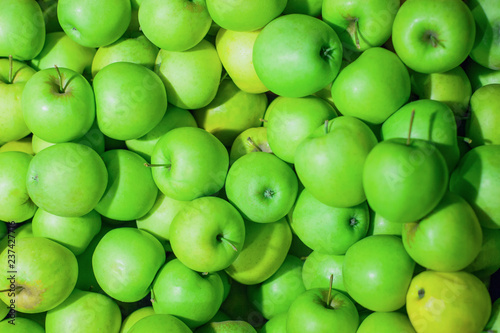 bunch of bright juicy green apples, background, texture - 237427716