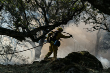 Fireman Work To Battle The Fire In Nunn, California, USA