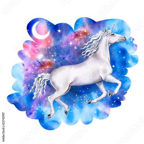 Obrazy Jednorożec   obraz-na-plotnie-bialy-biegnacy-jednorozec-w-nocnym-kosmicznym-niebie-galaktyka-z-gwiazdami