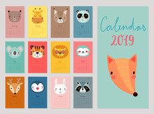 Calendar 2019. Cute Monthly Calendar With Animals. Hand Drawn Characters.