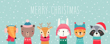 Christmas Card With Cute Anima...