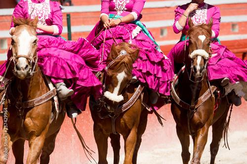 Fotografie, Obraz  three mexican women riding horseback wearing pink mexican dress