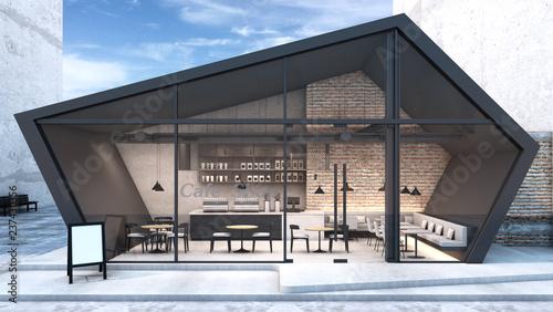 Widok z przodu Projekt kawiarni i restauracji. Nowoczesna blacha Loft czarna. Dach pięciostronny. Ściana Cegła, czarna metalowa rama Windows - renderowanie 3D