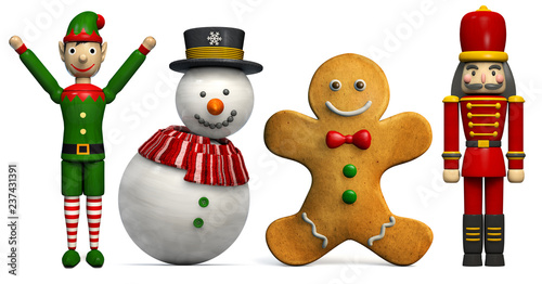 Fotografía Christmas Characters Festive and Cheerful Isolated on White.