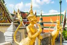 Wat PraKaew,Temple Of The Emerald Buddha Monster Model Garuda Wat Prakaew(1782) Bangkok Most Famous Tourism Spot In Bangkok Show Artistic Character Of Thai Traditional Art Pattern Bangkok Thailand