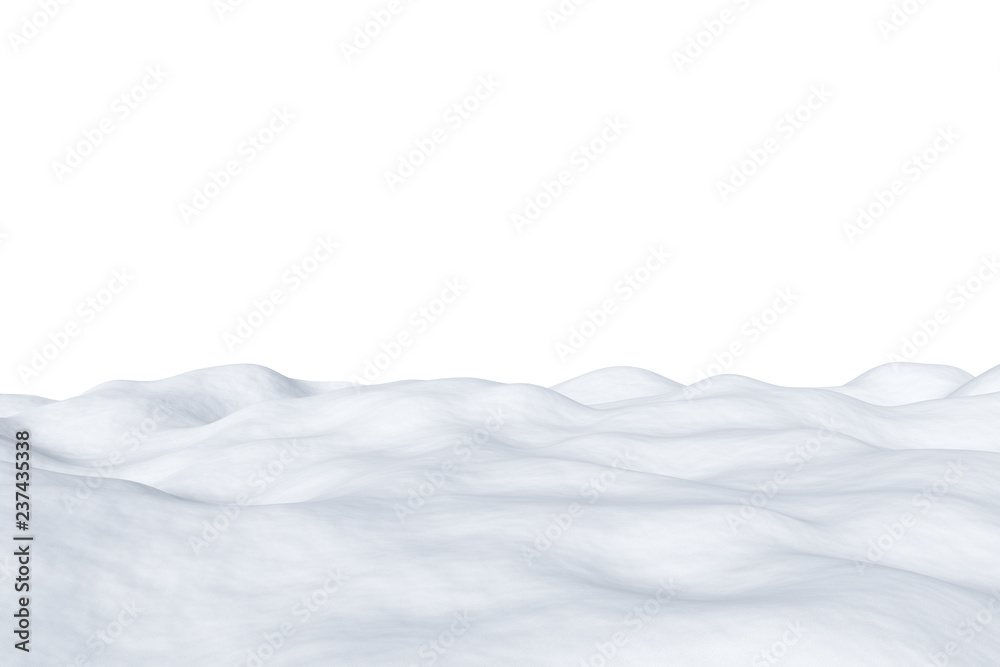 Fototapety, obrazy: White snowy field isolated on white background