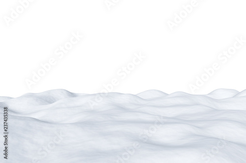 Tuinposter Wit White snowy field isolated on white background