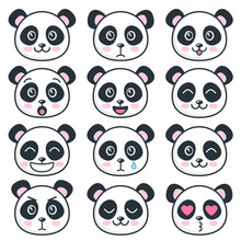 Cute Panda Faces With Differen...