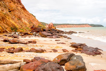 Red Rocks Along The Northeast Coast Of Brazil, In The State Of Alagoas