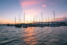 Sunset Over The Town Marina In...