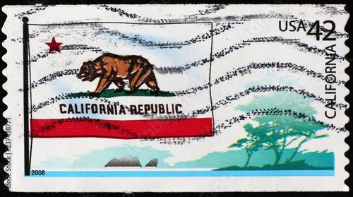 Fotografie, Obraz  Flag of California on US postage stamp