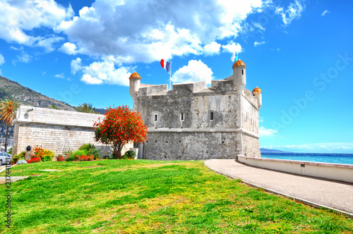 The bastion in port of Menton, Cote-d-Azur.French riviera Tableau sur Toile