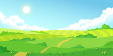 Colorful Sunny Summer Bright Fields, Hills Landscape, Green Grass, Clear Blue Sky With Clouds And Sun, Flat Style Vector Illustration