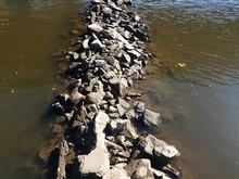 Grey Rocks Or Stones In River Water