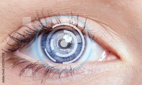 Photo sur Aluminium Iris Close up of female eye with digital hologram