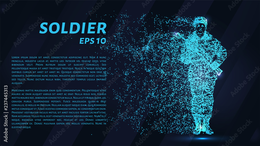 Fototapety, obrazy: Soldier. A grid of blue stars in the night sky. Glowing dots create the shape of a soldier with a weapon. War, army, machine gun and other concept illustration or background.