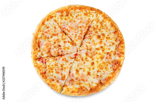 Fototapeta Pizza with cheese and tomato sauce isolated obraz
