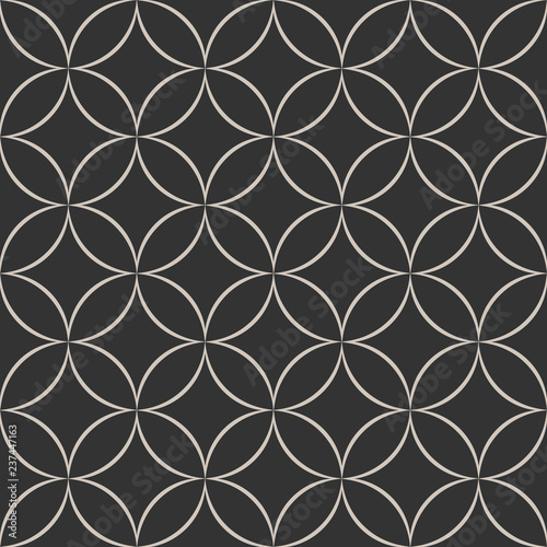 Fototapety, obrazy: Seamless geometric pattern with abstract floral elements based on Arabic ornaments. Abstract geometric background in black and white colors